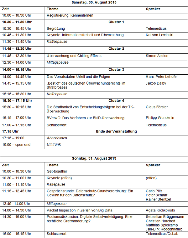 Vorläufiges Programm der #Soko14